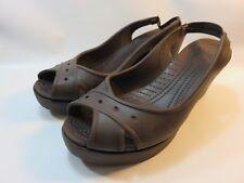 CROCS Brown Rubber Slingback Heels Women's Size 10 Medium EUC