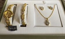 Cote d' Azur Gold Colored Necklace, Earrings, Bracelet Watch $99 Set NEW IN BOX