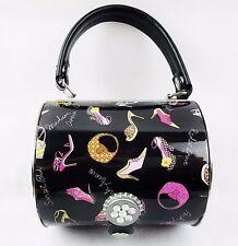 Metal Black Enamel Handbag Purse Bag Prezzo Brand Ladies Heels Fashion
