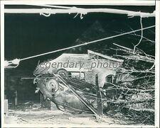 1938 Overturned Car and Damaged Home from Tornado Original News Service Photo