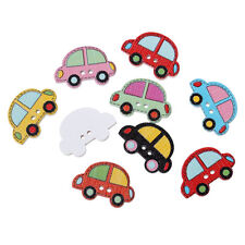 Pack of 20 Wood Buttons.Assorted Car Design 25 x 17mm Sewing Art