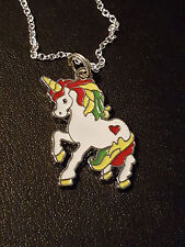 White Rainbow Unicorn Pony Horse Charm Pendant  Necklace