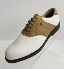 FootJoy GreenJoys 48727 Golf Oxford Womens White Tan Lace Up Shoes Size 8M
