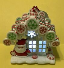 Gingerbread House W/ Santa At The Door - Lights Up! - Christmas Holiday Ornament