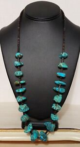 Vintage Turquoise Nugget Heishi Necklace Long Native American Old