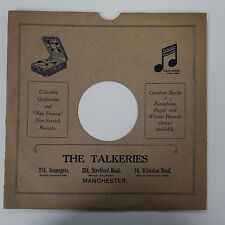 "78rpm 10"" card gramophone record sleeve / cover THE TALKERIES , DEANSGATE"