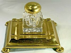 Antique Solid Brass  & Glass Inkwell England