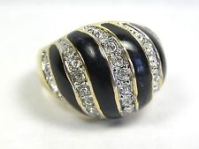 Cocktail Ring Enamel Dome Black Crystal Stones EDCO Sz 8
