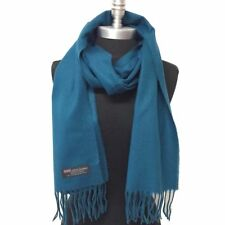 100% Cashmere Scarf 72X12 Solid Teal Made in Scotland Warm Wool Unisex