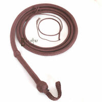 Indiana Jones Bull Whip 6 to 16 Foot 12 Plaits Brown Nylon Para-cord Bullwhip