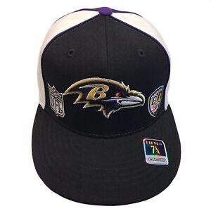 Baltimore Ravens NFL Reebok Black Tri Logos Size 7 1/4 Fitted Cap Hat $27