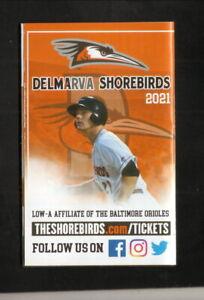 Delmarva Shorebirds--2021 Pocket Schedule--Orioles Affiliate