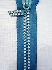 Teal Aqua Turquoise 9 Inch 23cm Double Row Crystal Rhinestone Closed End Zipper