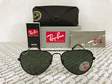 Ray-Ban POLARIZED Aviator Sunglasses RB3025 002/58 Black Frame/Green G-15 58mm