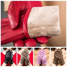 Gloves Women's Winter Warm Genuine Lambskin Leather Driving Fashion Soft Lining