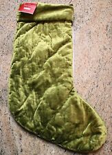 New Pottery Barn Shiny Diamond Quilted Velvet Christmas Holiday Stocking - GREEN