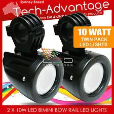 2 X 12V/24V 10W BLACK BOAT BOW RAIL BIMINI MOUNT LED FLOOD FISHING DECK LIGHTS