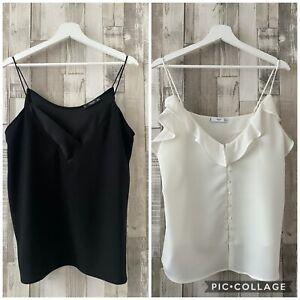 Mango Black & White 2 X Pretty Camisole Vest Top Size L