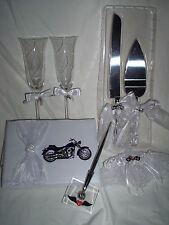 New Motorcycle Wedding Guest Book, Cake Servers, Toasting Glasses, Garter