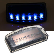 6 LED Auto Solar Charger Car Alarm Warning Blue Light Flash Bulb Sensor Security