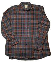 LL Bean Heavy Mens Scotch Plaid Gray Cotton Chamois Flannel Shirt 2XL Tall ECU