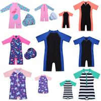 Child Boys Girls Sun Protective Zippered Swimwear Kids Rash Guard Beach Swimsuit
