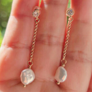 Natural Pearl gold Earrings eardrop 18K Chain girl Gift Holiday gifts Diy
