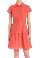 $398 DIANE VON FURSTENBERG DVF Skylar Eyelet Orange Shirt Dress Career - Sz 0