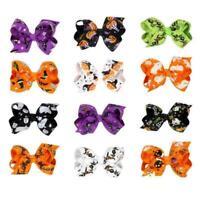 Boutique Halloween Haarschleife mit Clips für Kinder Haar Kürbis Haarschlei T3P1