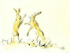 Lièvre lapin bunny art signé imprimer de peinture aquarelle Chic Cadeau Noël