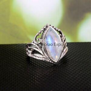 925 Sterling Silver Natural Rainbow Moonstone Gemstone All US Size Ring R70