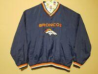 Vintage NFL Logo Athletic XL Denver Broncos Blue Pullover Windbreaker Jacket Men