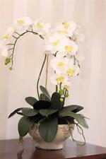 ARTIFICIAL SILK FLOWER ARRANGEMENT WHITE 3 STEM ORCHID POTTED PLANT IN PLANTER