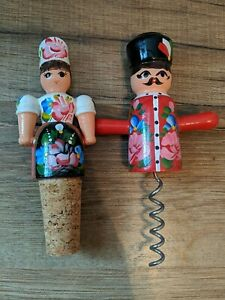 Wooden Wine Corckscrew and Stopper from Hungary People Couple Pair Hand Painted