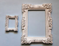 New Set of 2 Decorative Frame White Patina Classic Style Worldwide Delivery