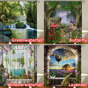 3D Garden Lane Shower Curtain W/ Hooks Mildewproof Waterproof Bathroom UK