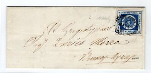 1860 Urugauay 120 C BLUE COAT OF ARMS ON COVER USED