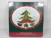 """Pfaltzgraff Holiday Happenings Christmas Tree Round Glass Bowl 14.5"""" Food Safe"""