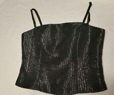 Blondie Nites by Jaslene Black shimmering spaghetti Strap top Size 7-8