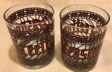 Vintage Houze Seasons Greetings Drinking Glass Christmas Tumbler Set of 2*