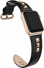 Apple Watch Band 38mm 40mm Black Leather Strap with Rose Gold Studs Steel Buckle