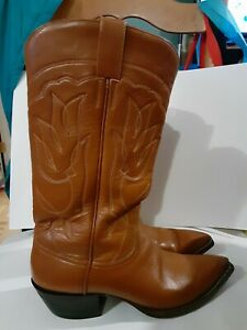 Vintage Austin Hall Handmade Tan Western Cowboy Boots Size14 Made in Mexico 1983