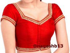 Readymade Saree Blouse, saree blouse, Red Kundan Work Front Open Sari Blouse