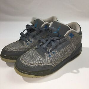 Nike Air Jordan Retro 3 Youth Size 6.5y 441140-015 Gray Shoes Texture