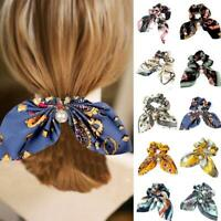 Solid Floral Bow Scrunchie Hair Band Elastic Hair Ties Rope Scarf Accessories/