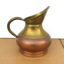 Vintage Maudoux Dinant Hammered Copper & Brass Pitcher Made in Belgium