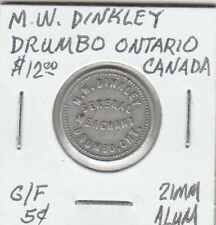 Token - Drumbo, Ontario, Canada - M.W. Binkley - G/F 5 Cents - 21 MM Aluminum