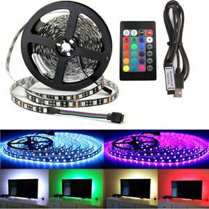 5V USB 1-5M RGB 5050 LED Strip Light TV Back-light Remote Control Waterproof UK