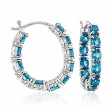 4.30 CT T.W. London Topacio Azul Interior-Exterior Aro Pendientes en Plata Esterlina