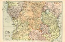 1911 VICTORIAN MAP ~ CENTRAL AFRICA ~ ANGOLIA CONGO